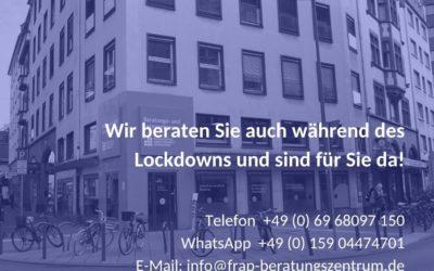 Wir beraten Sie auch während des Lockdowns!